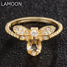 LAMOON Fine Bee Natural Gemstone Oval Citrine 925 Sterling Silver Jewelry Wedding Rings For Women