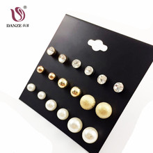DANZE 2017 Punk Fashion Simulated pearl Stud Earrings Set for women metal Ball claire Crystal hanging Earring Aros brincos(China)