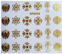 1pc Nail art 3D gold foil sticker short bride patch applique Nail Polish stickers golden cross sticker nail art tool(China)
