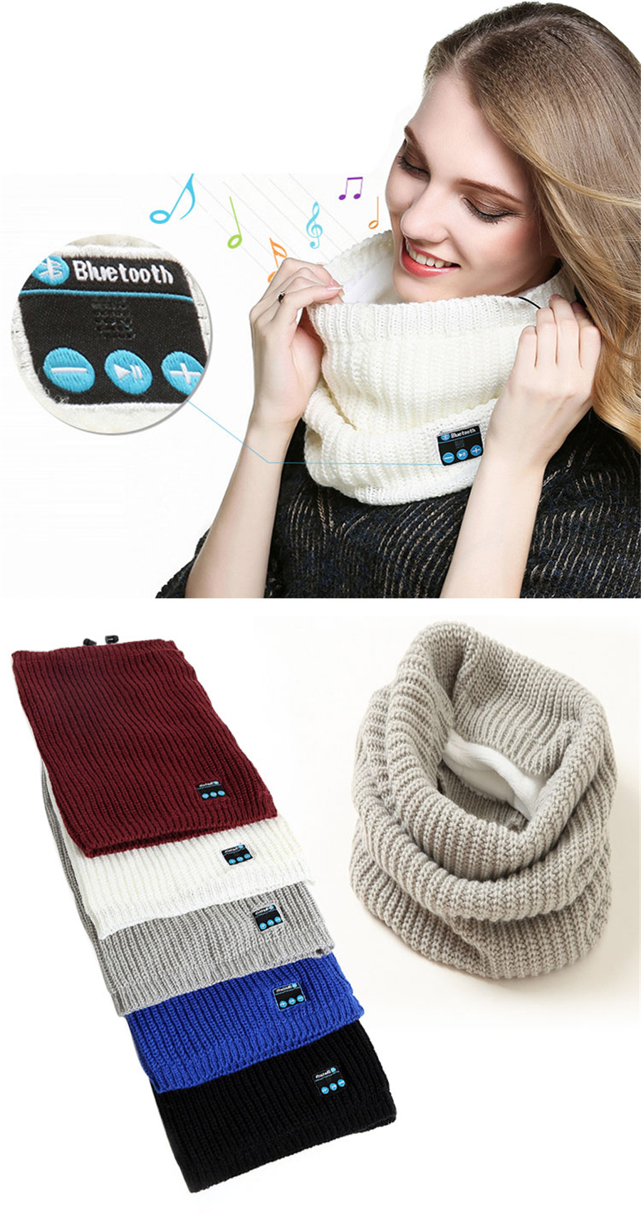 Bluetooth V3.0 Soft Scarf Neckerchief Winter Knitted Design Wireless Bluetooth Smart Scarf Headset Headphone Speaker Microphone
