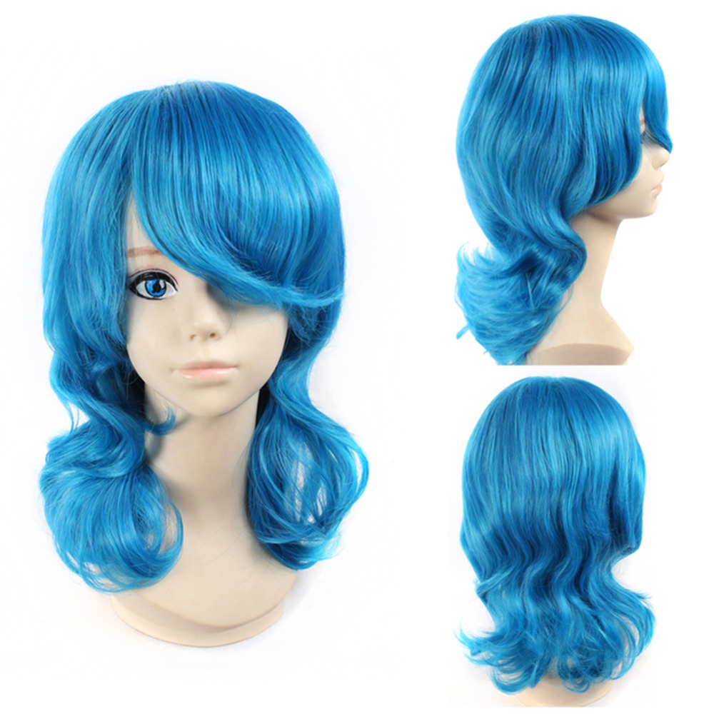 Iku Mizushima Curl Cosplay Wig Blue Hair Wigs Natural Anime Synthetic Hair Wigs Heat Resistant Fiber Party Wigs<br><br>Aliexpress