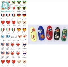 Rocooart DS325 Water Transfer Nails Art Sticker Harajuku Elements Heart Style Country Flags Nail Wraps Sticker Manicura Decal