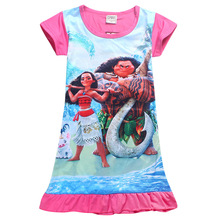4-10Years 2017 New Cartoon Summer children kids girl tees dress fashion Moana clothing cute design girls princess dresses
