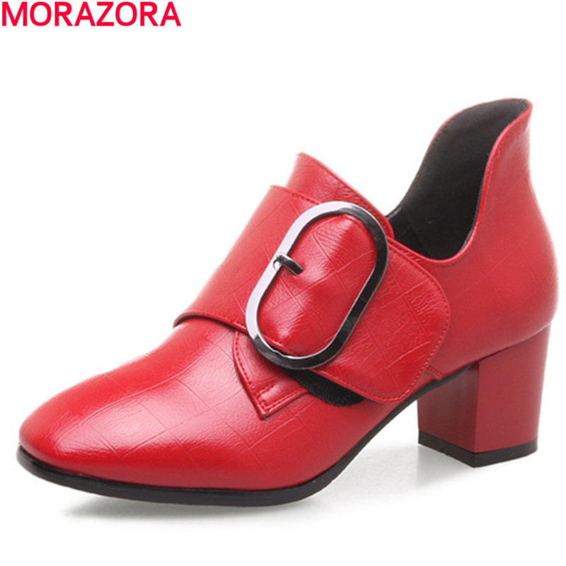 MORAZORA spring autumn comfortable New popular single  shoes women pumps buckle shoes heels shoes fashion platform  <br>