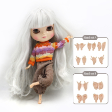 Bobble head Azone Joint body ICY doll Include the hand set A&B like blyth BJD 11.5 inch dolls for girls Man-made fiber long hair