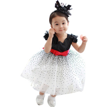 NEW HOT Girls' Dresses Summer Chiffon Ball Gown Baby Red Bowknot White Party Princess Dress Children Clothing