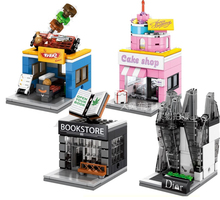 4pcs Mini Street View Cake Shop BBQ Book Store Di or Building Bricks Block Compatible With Lego CREATOR