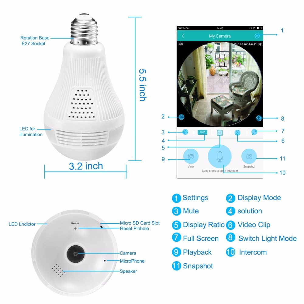 Security Camera 1080p Hd Video Bulb Wireless Home 3 Way Light Switch Motion Detection Shipping