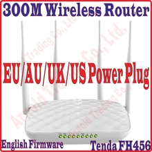 EU/AU/UK/US Power, Eng-Firmware Tenda FH456 300M Wireless WIFI router 4 Antenna Router WISP Client+AP Dynamic / Static IP Prom10