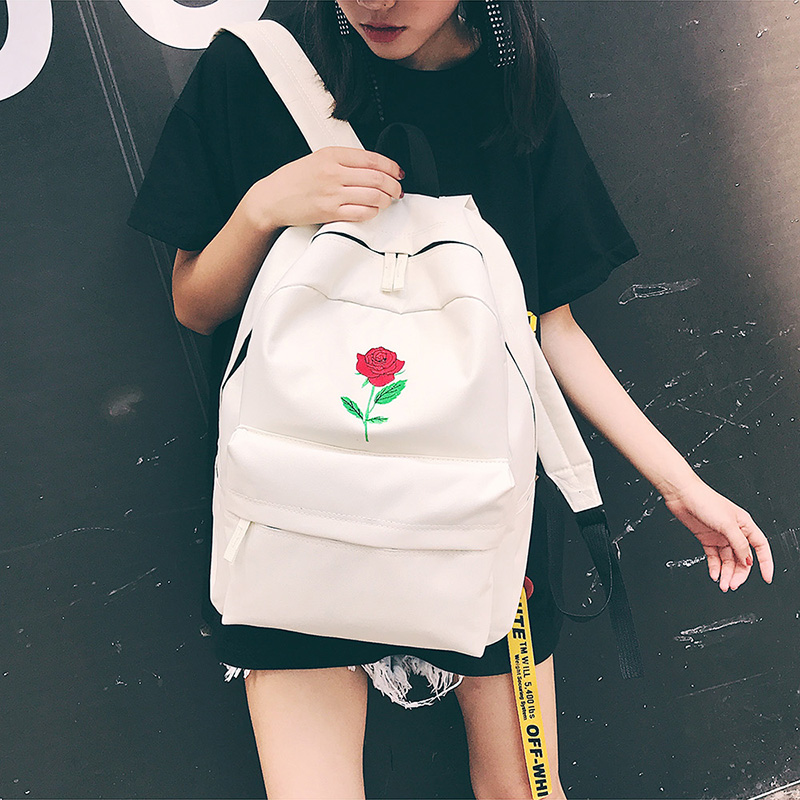 Men Canvas Backpack Cute Fashion Women Rose Embroidery Backpacks for Teenagers Women's Travel Bags Mochilas Rucksack School Bags (37)