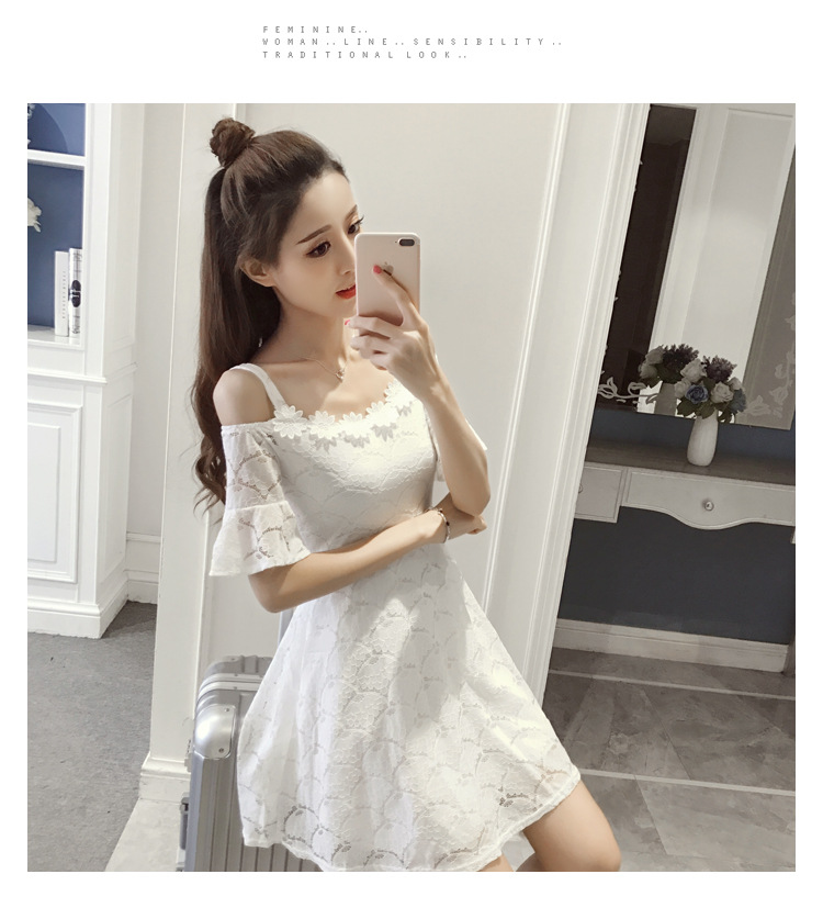 18 New fashion women summer lace sexy dress white Korean style clothes for womens vestido de festa mini white clothings 7