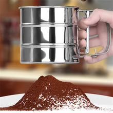 2016 New Stainless Steel Mesh Flour Sifter Mechanical Baking Icing Sugar Shaker Sieve Tool Cup Shape