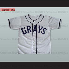 LANSHITINA Josh Gibson #20 Homestead Grays Negro National League Baseball Jersey Throwback For Mens Gray Stitched Shirt