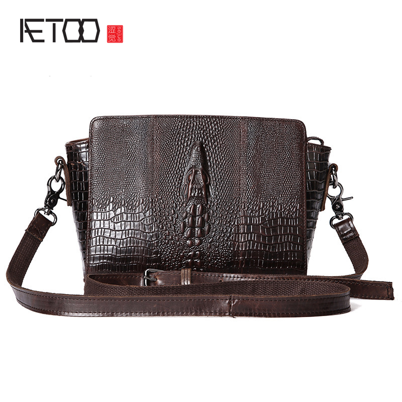 AETOO The new retro fashion crocodile pattern shoulder bag shell head pack oil wax bag Messenger bag handbags<br>