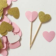 Glitter Gold/Pink double-sided Heart 1in Cupcake Toppers Wedding Food Picks Babay Shower Party Favors Cake Decoration Supplies(China)