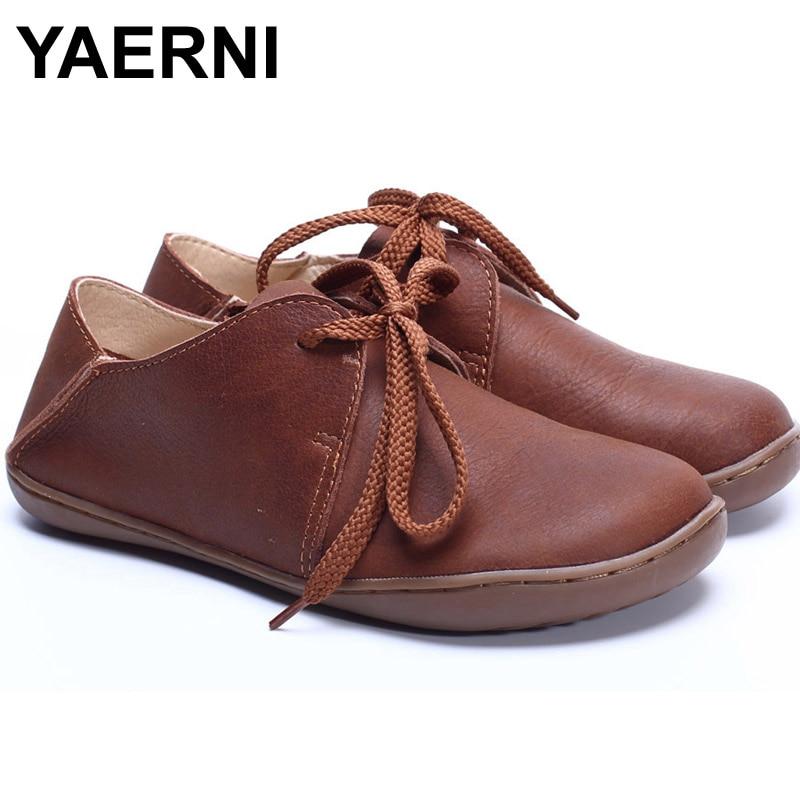 YAERNI (35-42) Women Shoes 100% Authentic Leather Round toe Lace up Ladies Flat Shoes Slip-resistance rubber sole Female Shoe<br>