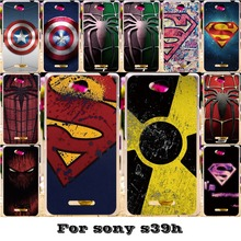 Soft Silicon TPU & Plastic Phone Covers Cases For Sony Xperia C S39h C2305 Case Captain America superman Spider Paint back cover