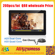 Free Shipping Wholesale 200pcs/lot - 7 inch Cheap Android 4.4 Q88 Tablet PC Allwinner A23 Dual Core/A33 Quad Core 4GB 10 color