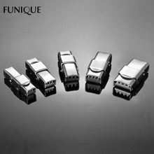 FUNIQUE 5PCs Toothed Stainless Steel Clasps Silver Color Buckle Leather Cord Lock For DIY Leather Bracelet Tooth Strap Cable Tie