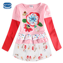 Nova Kids 2015 new style Fashion O-neck navy Long Sleeve Cartoon Character Printed with voile or mesh Spring Autumn girl dress