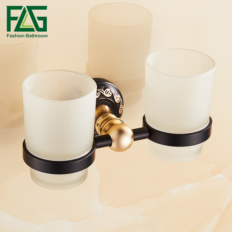 FLG Bathroom Cup Holder Wall Mounted Tooth Brush Tumbler Holder Black Finish Space Aluminum Bathroom Accessories<br>