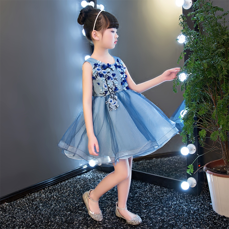 Hot Sales O Neck Appliques Mini Flower Girls Dresses Summer 2017 New Princess Gown Sleeveless Vintage Wedding Party Dress QX281