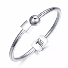 Ball With Cube Design Women's Open Bangle  High Polished Stell Color Bracelet Jewelry Gift GH829