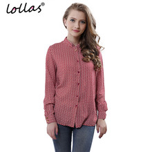 lollas New Fashion Ladies' Casual Print Blouses Vintage Stand Collar Long Sleeve OL Shirts Casual Slim Brand Tops(China)