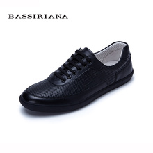 New 2017 shoes mens Genuine leather Lace-Up Round Toe Casual shoes men Sheepskin Spring/Autumn Free shipping BASSIRIANA