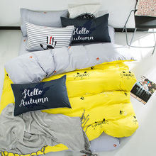 Yellow duvet cover set 100% cotton twin queen multi-size bedding set,cat print quilt cover grey bed sheets pillow case