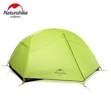 Naturehike Double Layer Camping Tent For 2 Person 2 Colors 20D Silicone Fabric Rainproof Outdoor Beach Climbing Camping Tent