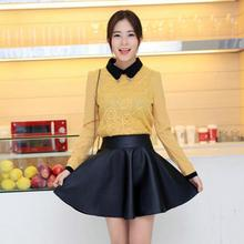 Buy 2016 Fashion Women High Waist Faux Leather Skirt Flared Pleated Short Skirt Winter Autumn Female PU Mini Skirt for $14.63 in AliExpress store