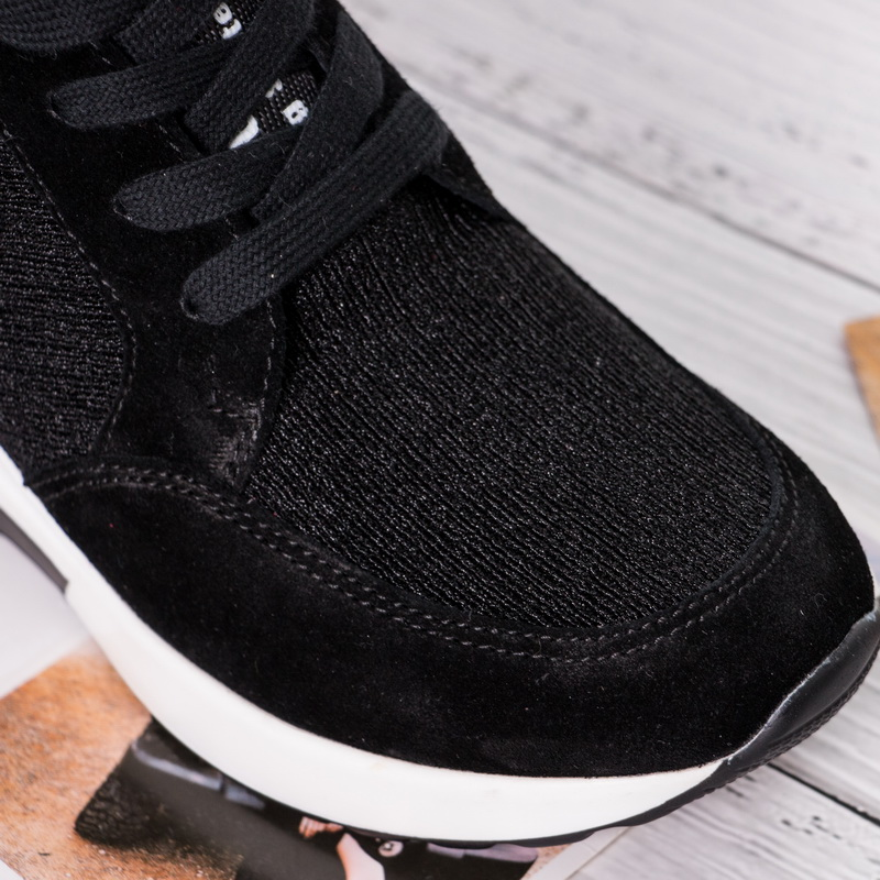 BELISS 2018 spring autumn ankle boots wedges cow suede leather platform hook loop women sneakers (9)