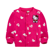Baby girls spring coat Cartoon Hello Kitty spring and autumn clothes children outerwear,girls cotton warm hoodies kids clothes(China)