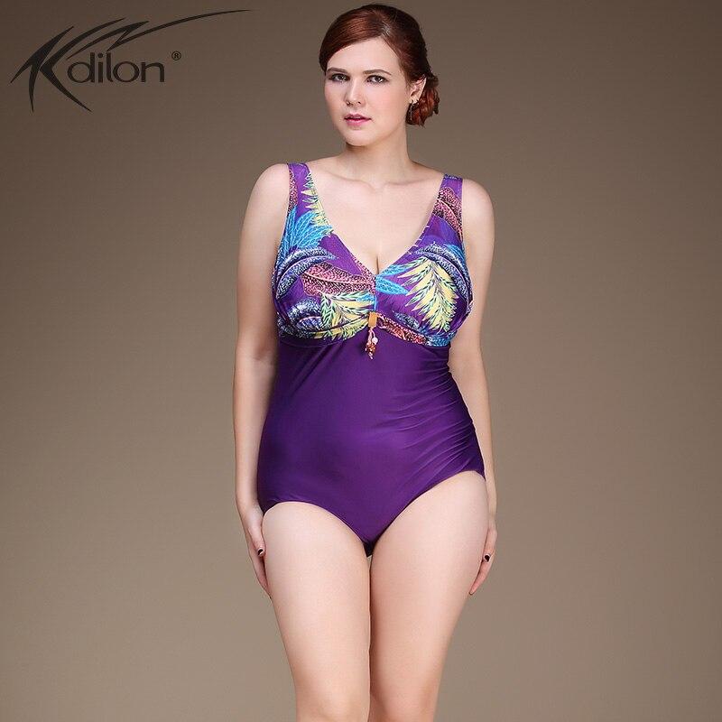XL-4XL Plus Size One Piece Swimsuit Bodysuit Women Swimwear Blue Purple Adjustable Strap Sexy Beach Geometric Print Bathing Suit<br>