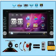 Two 2 din Car autoradio DVD GPS radio Navigation Player with Bluetooth Stereo video SD USB+rear Camera+steering wheel control(China)
