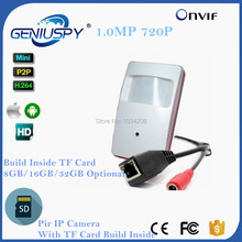 GENIUSPY Cheap H.264 HD 720P IP Cam Motion Detector PIR Style CCTV Mini IP Camera With SD Card Slot Build Inside 8GB/16GB/32GB()