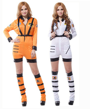 Free shipping,Fantasias halloween party  Cosplay Adult white and orange Astronaut  costume Spacesuit Theatrical Dress Clothes