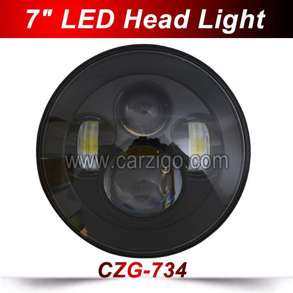 CZG-734 Black 7 LED headlight Best Price with High Low Beam IP68 Waterproof 7 Inch round 40W LED Head light for jeep wrangler<br>