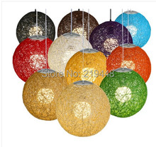 Modern Minimalist Garden Creative Rattan Twine Ball Pendant Light LED bedroom Terrace Restaurant Cafe Pendants Different Sizes(China)