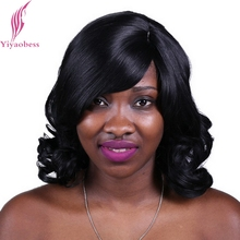 Yiyaobess 40cm 1B U Part Natural Looking Synthetic Styles For Shoulder Length Hair Black Natural Curly Wigs With Bangs(China)