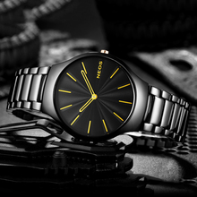 2017 NEOS Men 's Watch Ultra - thin Simple Fashion Section Leisure Tide Waterproof Men' s Table Quartz Watch Steel Belt(China)