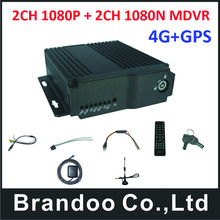 4G 4CH HD Vehicle DVR Support dual 128GB SD Card Mobile DVR With GPS,free shipping.(China)