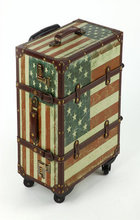 American Five Star Flag PU Travel Bag Trunk Trolley case suitcase Rolling luggage(China)