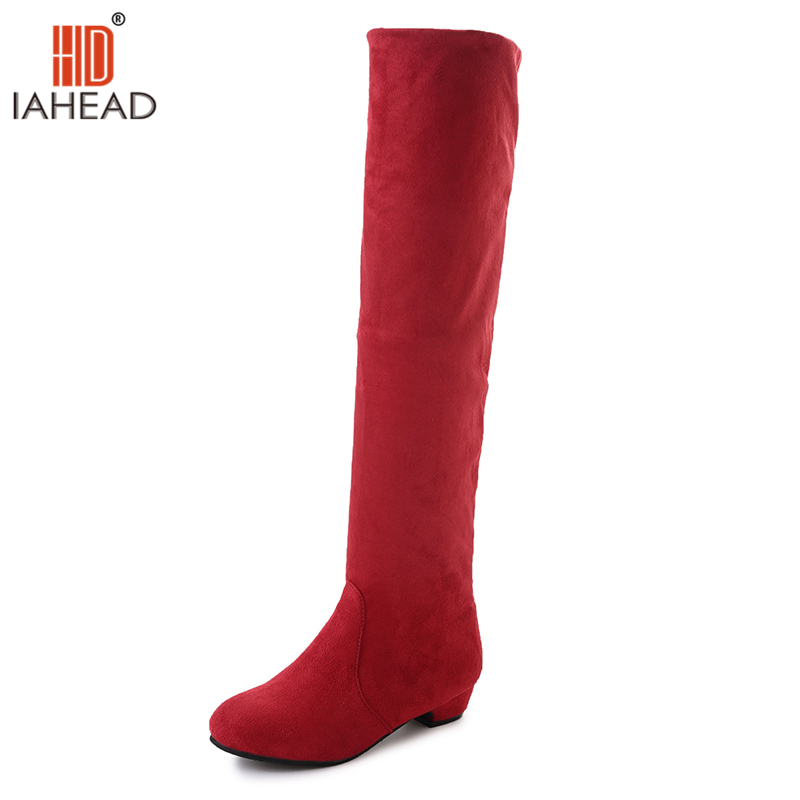 IAHEAD Brand New Shoes Women Fall Shoes Autumn Wear Knee High Boots Fashion Shoes 2017 Solid Low Flat Shoes UPC327<br>