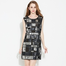 Vintage Women Round Neck Sleeveless Plaid Sequined Beaded Shift Dress Bling Club Straight Party Dress With Paillettes