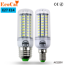 ECO CAT Super LED Bulb E27 E14 220V SMD 5730 LED Lamp 24 36 48 56 69leds AC 230V 5730SMD LED Corn Bulb light Chandelier 220 240V