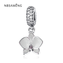 2017 Authentic 925 Sterling Silver Charm White Orchid Dangle Clear Cubic Zirconia Beads Fit Original Pandora Bracelet Jewelry