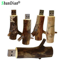 SHANDIAN Newest Novelty Flash disk Wooden model branch memory stick pendive 8GB 16GB 32GB thumb drive U disk mini gift(China)