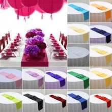 1pc 30cm x 275cm Polyester Table Cloth For Wedding/Party/Banquet Wedding /Restaurant Dinning Table Cloth Decoration 20 Colors